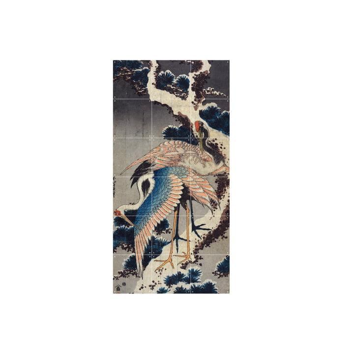 Kraniche am Ast einer verschneiten Kiefer (Hokusai) 60 x 120 cm von IXXI