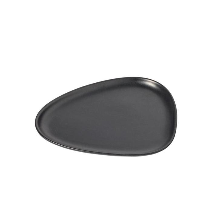 Curve Stoneware Lunch Teller 22 x 19 cm von LindDNA in schwarz