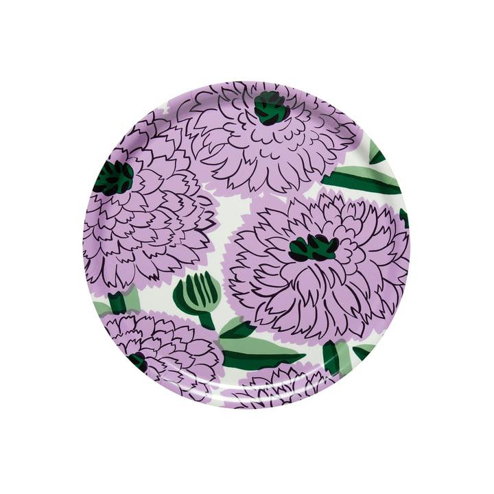 Primavera Tablett Ø 31 cm, weiß / lila / grün von Marimekko