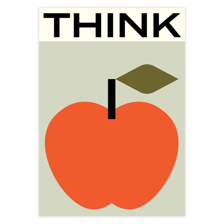 Apfel-Poster Think mit Typografie