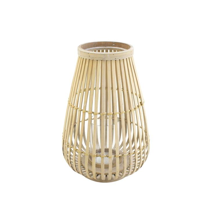 Bambus Windlicht mit Glaseinsatz in natur, 36 cm