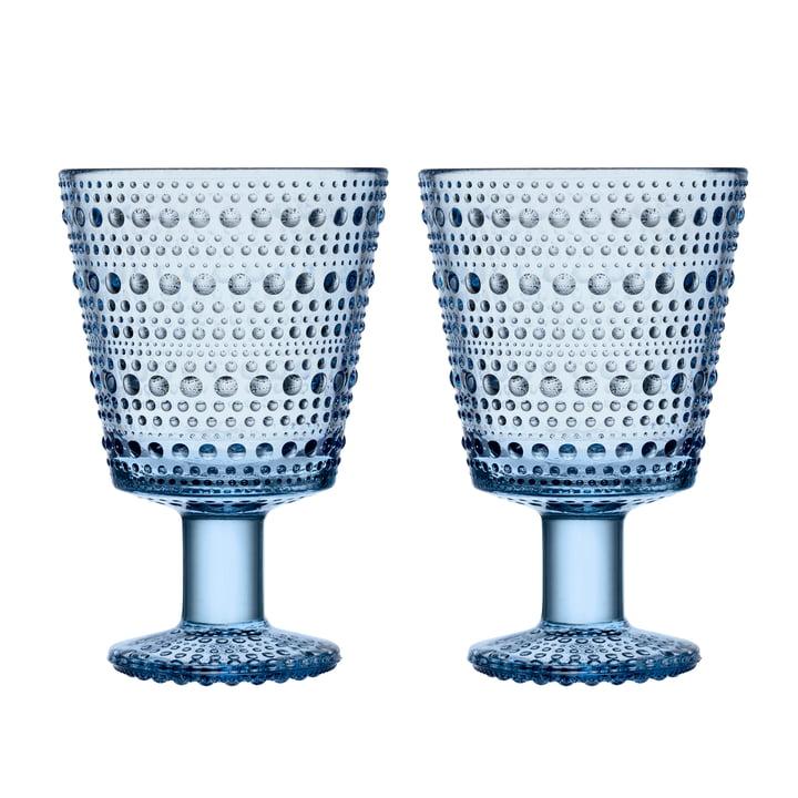 Kastehelmi Trinkglas mit Fuß 26 cl von Iittala in aqua (2er-Set)