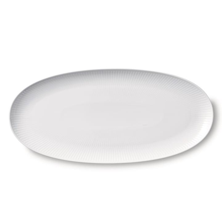 Weiß Gerippt Servierplatte lang oval 37 cm von Royal Copenhagen