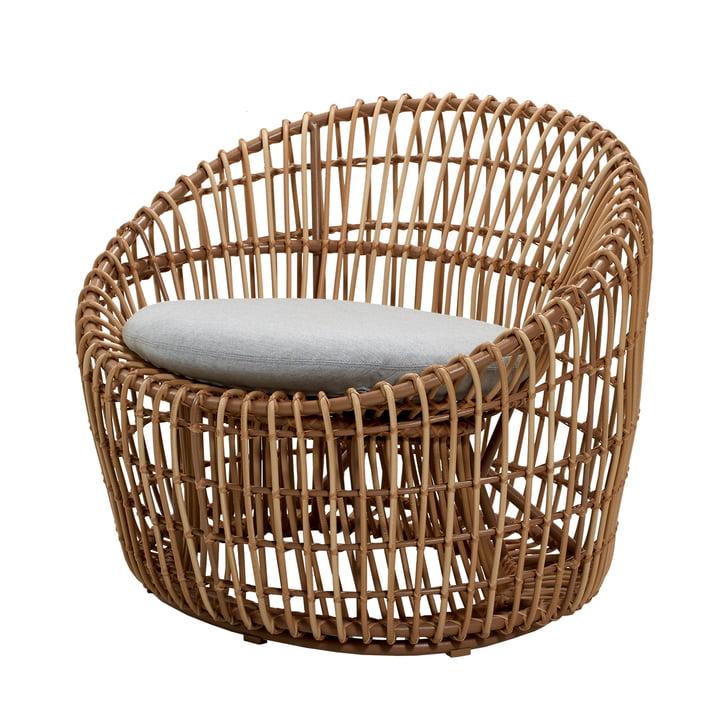 Nest Round Sessel Outdoor, natur / hellgrau von Cane-line
