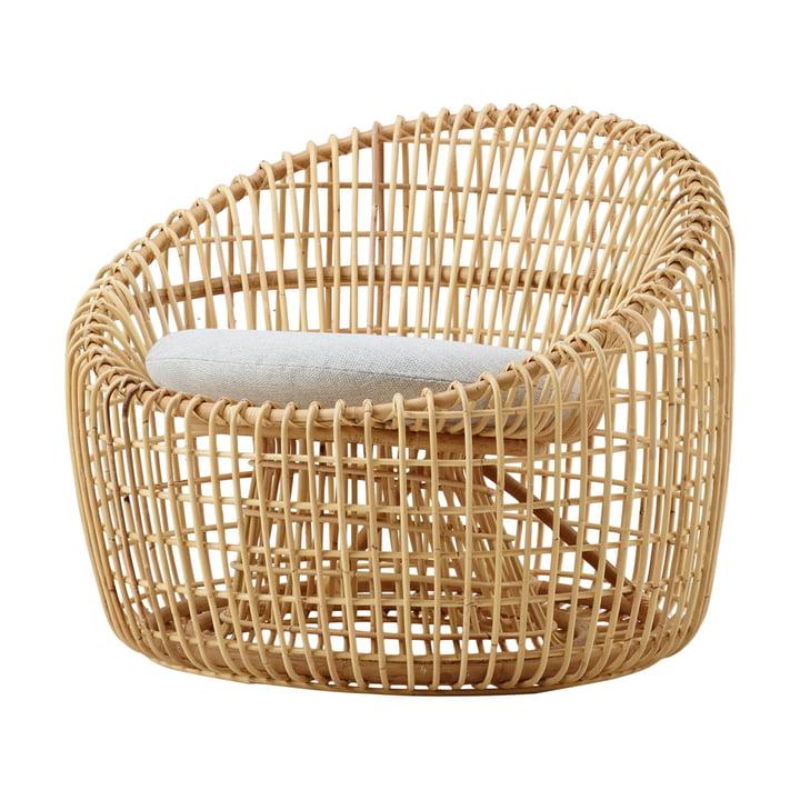 Nest Round Sessel Indoor, natur / Natté light grey von Cane-line