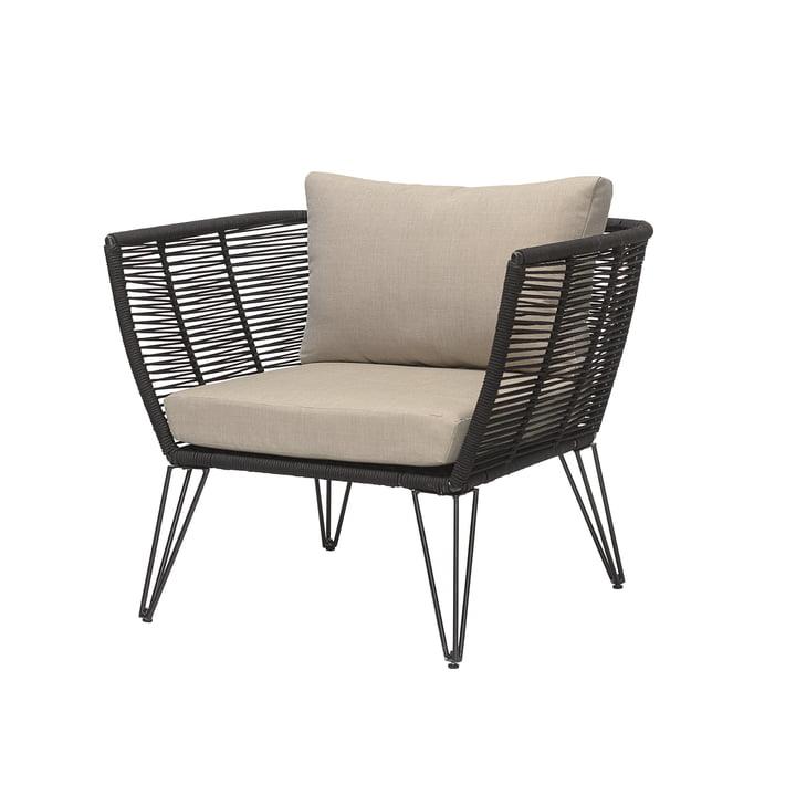 Mundo Lounge Chair mit Kissen von Bloomingville in schwarz / beige