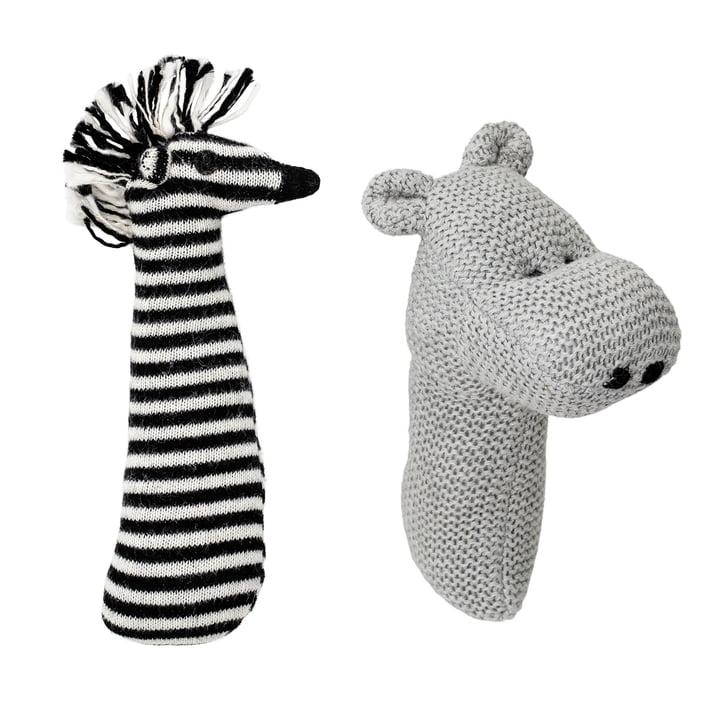 Rassel, 2er Set Zebra und Hippo von Bloomingville