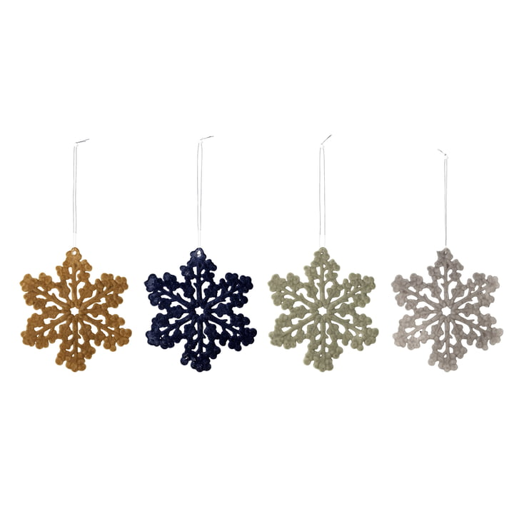 Schneeflockenornamente Ø 11,5 cm (4er-Set) von Bloomingville in multi-color