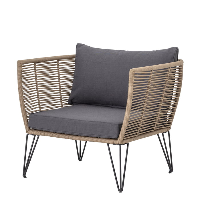 Mundo Lounge Chair mit Kissen von Bloomingville in braun / grau