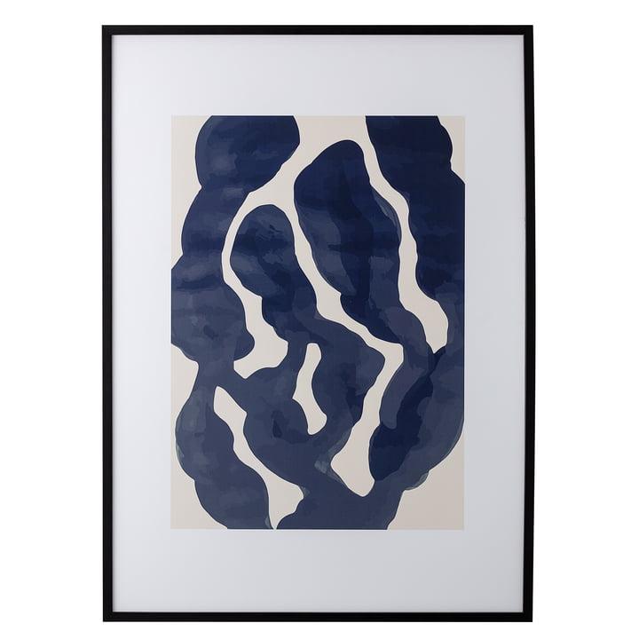 Bilderrahmen mit Print abstrakt blau / rosa, L 52 x H 72 cm von Bloomingville mit Rahmen schwarz