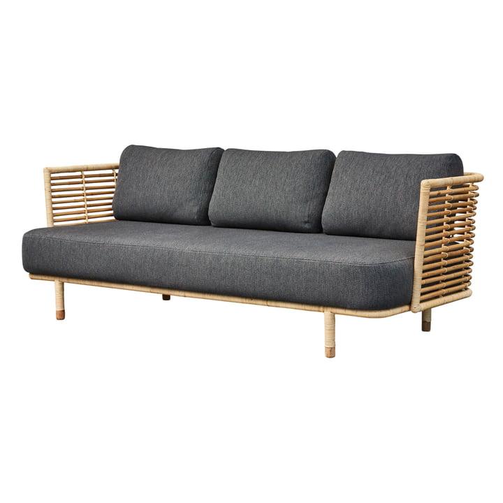 Sense 3-Sitzer Sofa, natur / dunkelgrau von Cane-line
