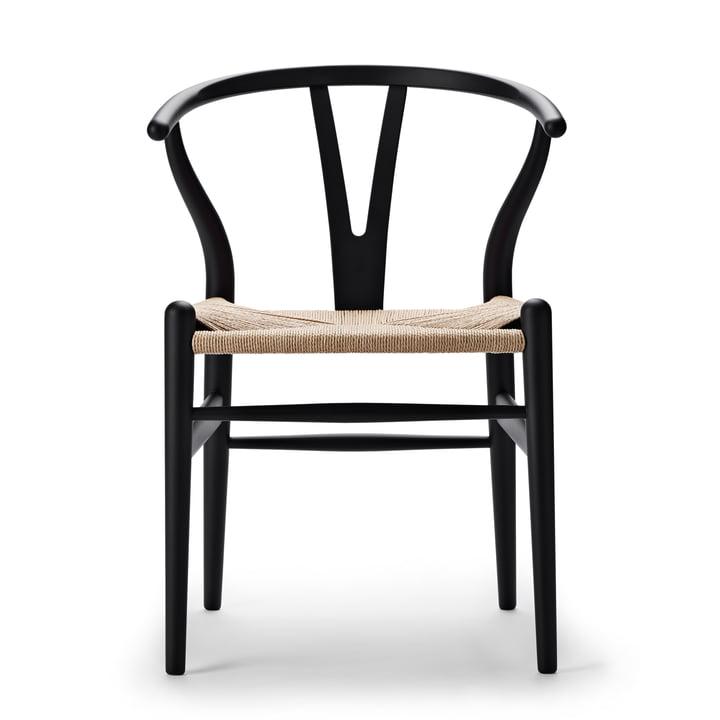 CH24 Wishbone Chair von Carl Hansen in soft black / Naturgeflecht