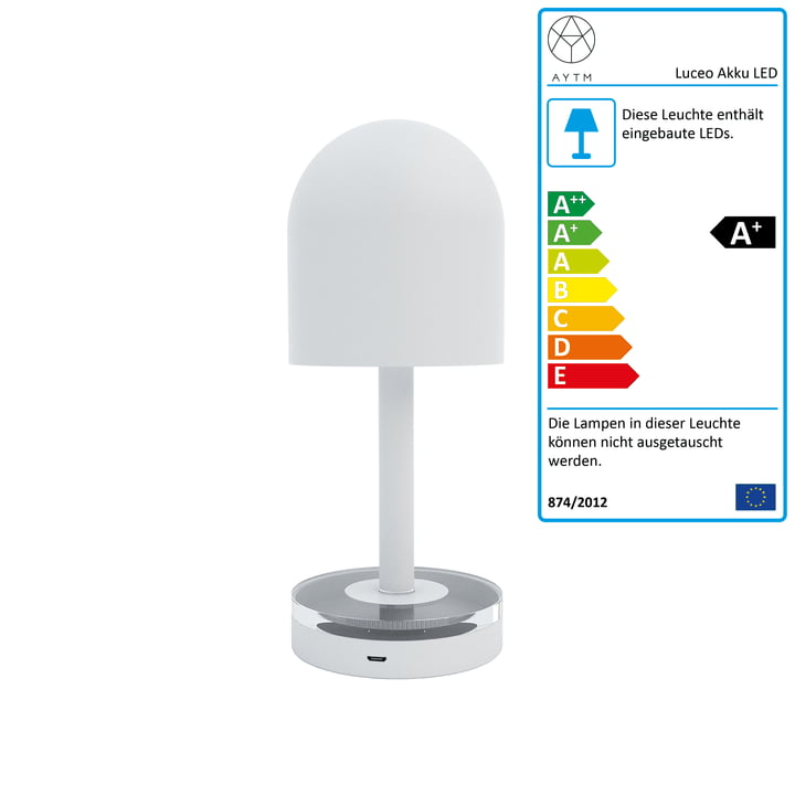 Luceo Akku LED-Tischleuchte Ø 9 x H 22 cm von AYTM in weiß / klar