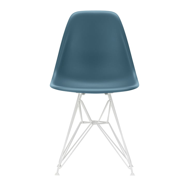 Vitra - Eames Plastic Side Chair DSR, wei? / meerblau (Filzgleiter wei?)