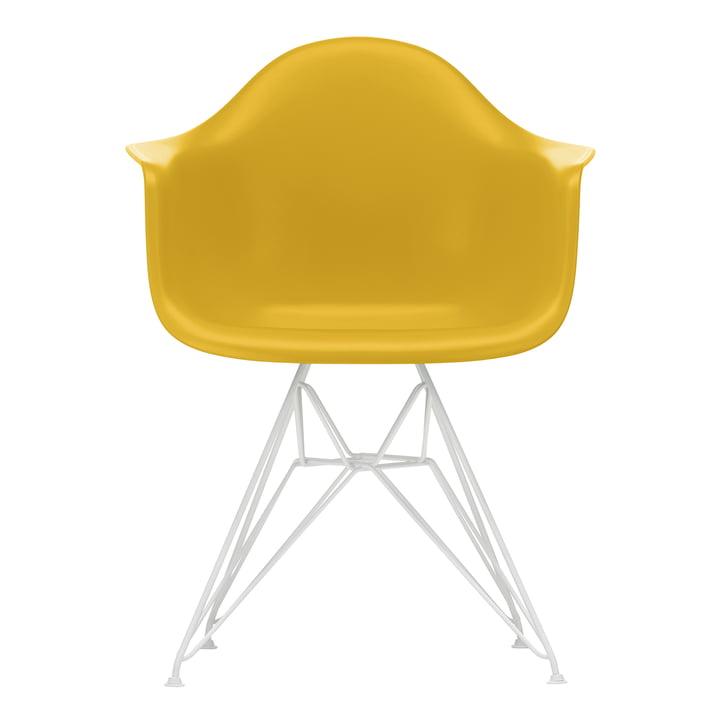 Eames Plastic Armchair DAR von Vitra in weiß / senf (Filzgleiter weiß)
