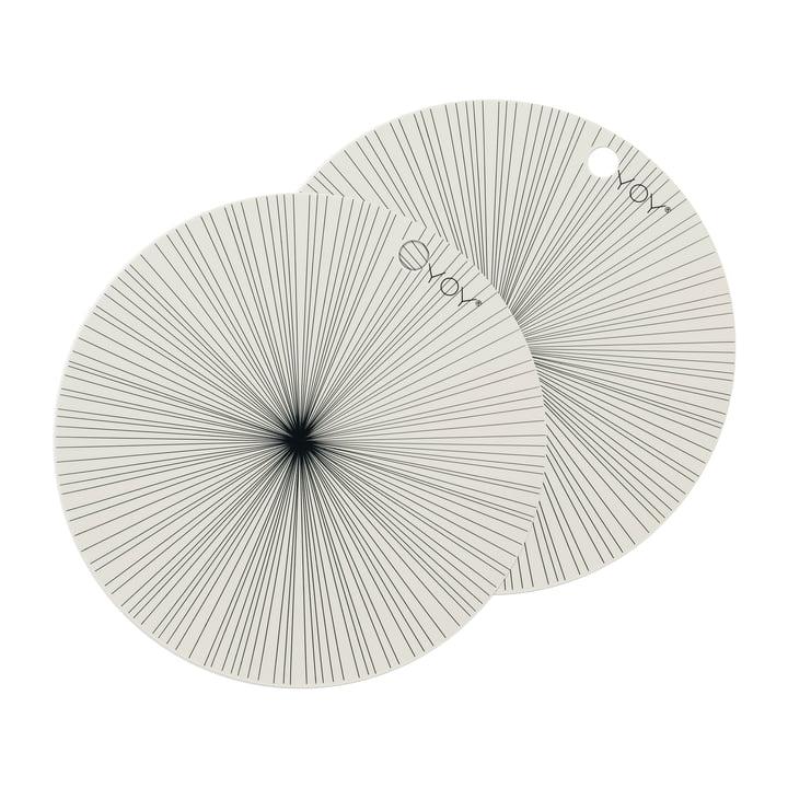 Tischsets Ray Ø 36 cm, off-white (2er-Set) von OYOY