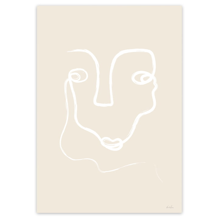 One Line Face Poster in Beige