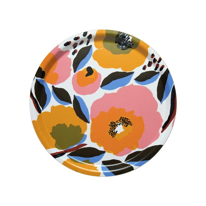 Marimekko - Rosarium Tablett Ø 31 cm, weiß / rot / gelb / blau (Frühling/Sommer 2020)