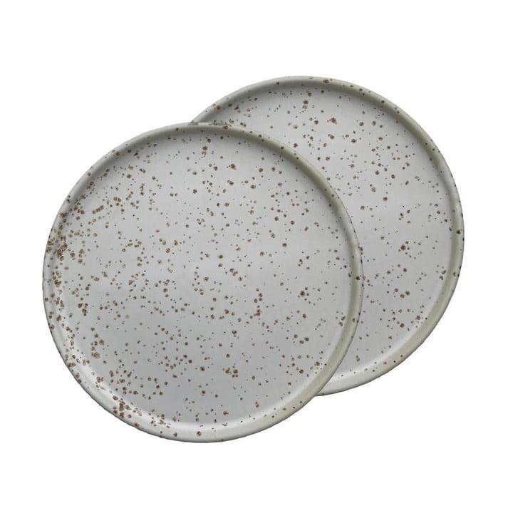 Inka Teller Ø 16 cm von OYOY in weiß / hellbraun (2er-Set)