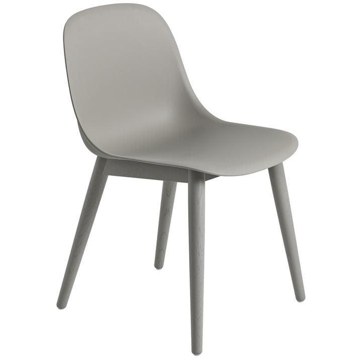 Fiber Side Chair Wood Base, grau / grau von Muuto