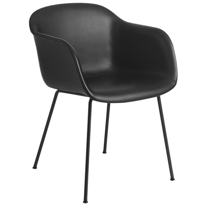 Fiber Chair Tube Base, schwarz / Refine Leder schwarz von Muuto
