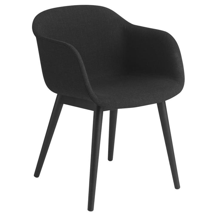 Fiber Chair Wood Base, schwarz / Remix 183 von Muuto