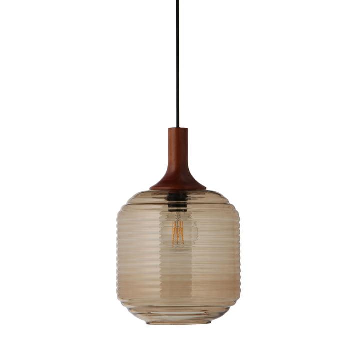Honey Pendelleuchte Ø 26 cm, Glas amber / Kautschukholz dunkel gebeizt von Frandsen