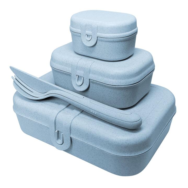 Pascal Ready Lunchbox-Set mit Klikk Besteck von Koziol in organic blue