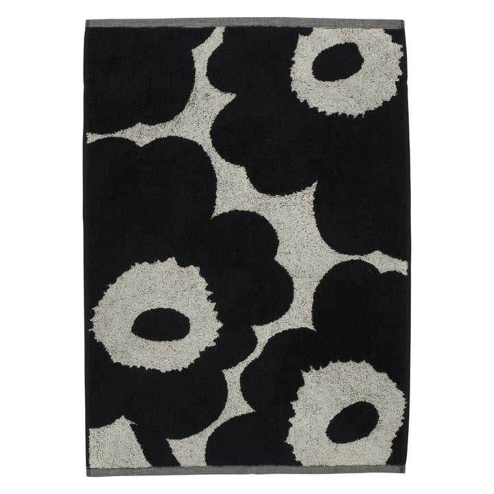 Unikko Handtuch 50 x 70 cm von Marimekko in baumwollweiß / dunkelblau