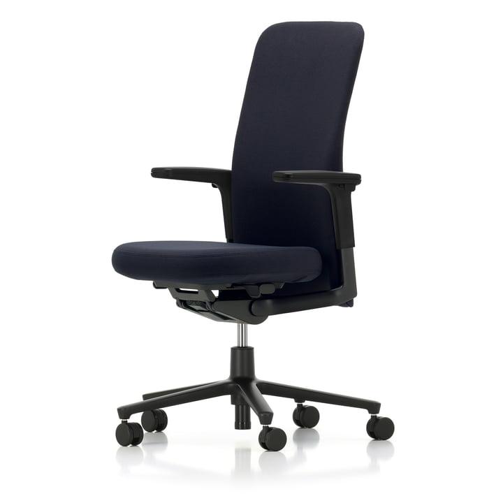Vitra - Pacific Chair mittelhoch, Armlehnen verstellbar, Fünfstern-Gestell schwarz, Rollen Hartboden, Sitz und Rücken dunkelblau / moorbraun (Laser)