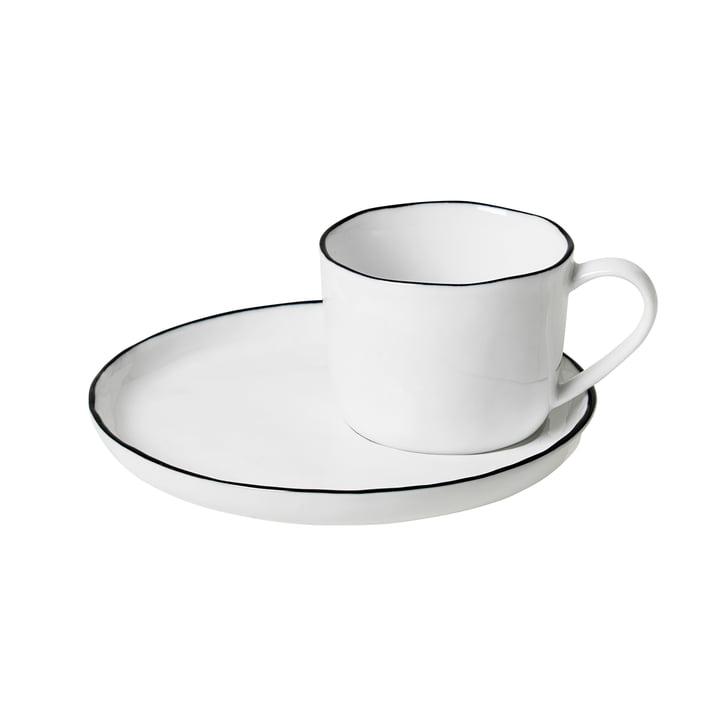 Salt Tasse mit Untertasse S, 10 cl, weiß / schwarz von Broste Copenhagen