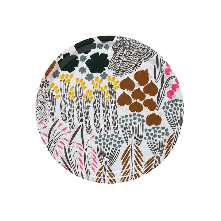 Letto Tablett rund Ø 31 cm, weiß / grün / braun von Marimekko
