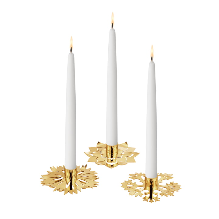 Kerzenhalter Eisblume 3er-Set, gold von Georg Jensen.