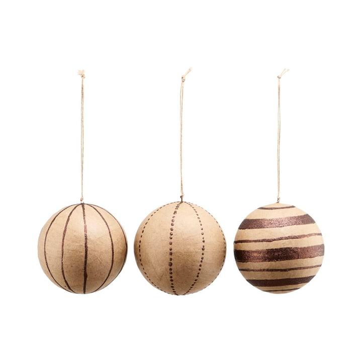 Weihnachtsbaumkugeln Craft, Ø 10 cm, Glitter / braun (3er-Set) von House Doctor