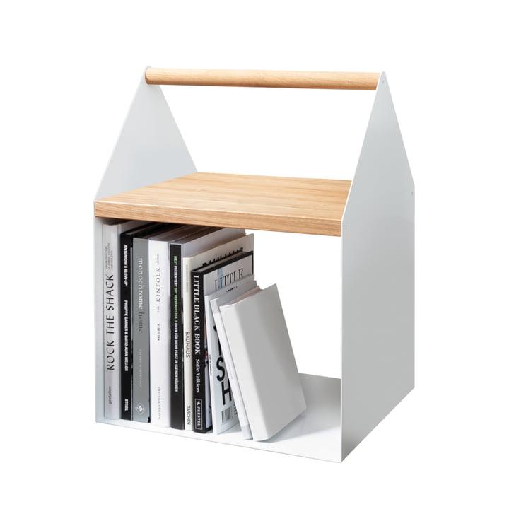 Weißer Beistelltisch mit Bücher-Fach