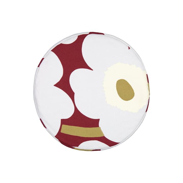 Das Unikko Kissen Ø 43 cm, dunkelrot / hellgrau / off-white von Marimekko