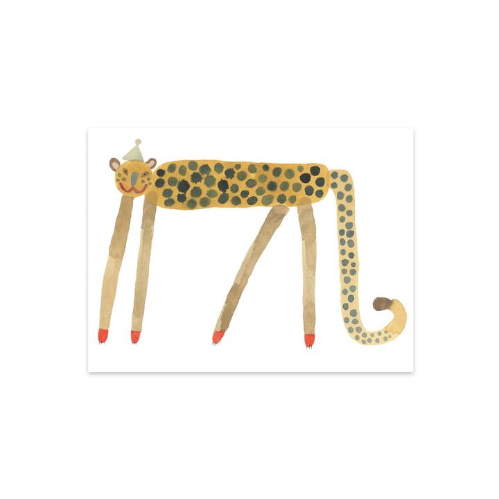 Kinderposter mit Tieren, Smiling Leopard Elvis, 40 x 30 cm von OYOY