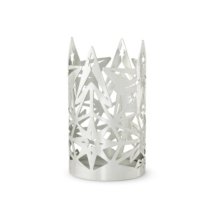 Der Karen Blixen Blockkerzenhalter, H 13,5 x Ø 8 cm, silber von Rosendahl