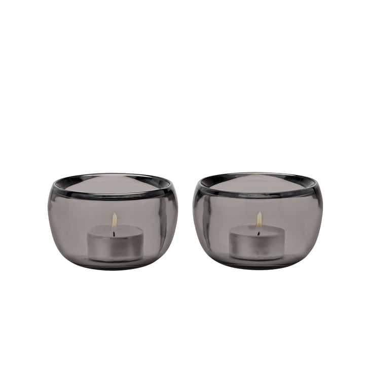 Die Ora Teelichthalter, smoke (2er-Set) von Stelton
