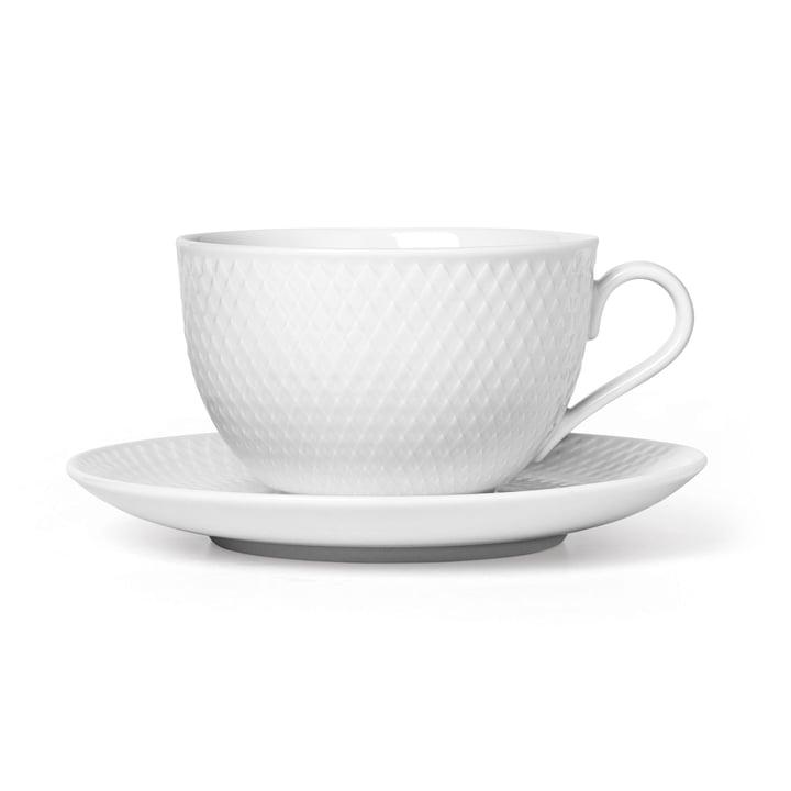 Die Rhombe Teetasse mit Untertasse, 39 cl, weiß von Lyngby Porcelæn
