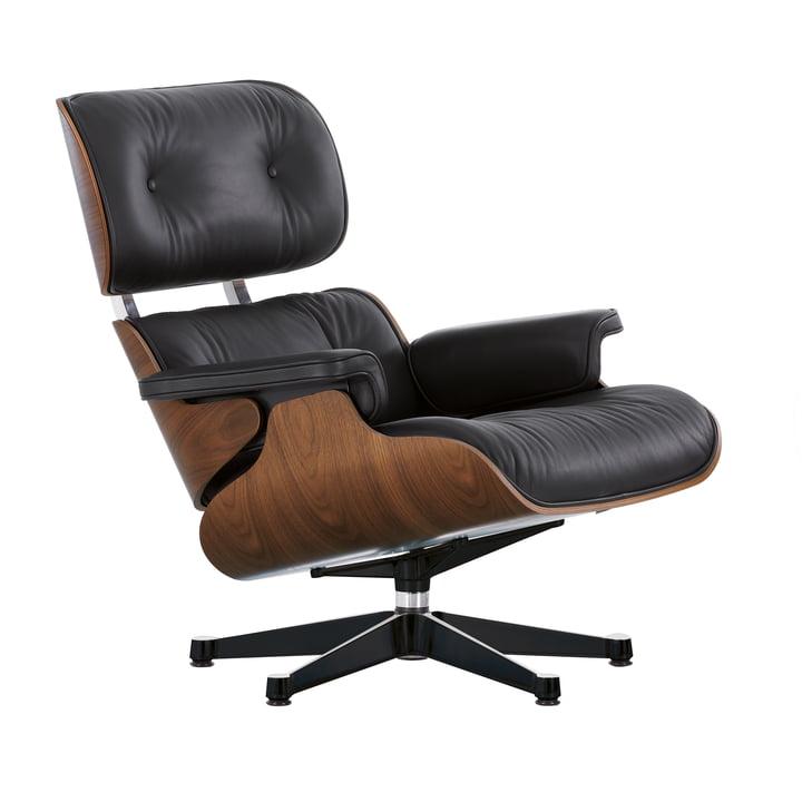 Vitra - Lounge Chair, poliert / Seiten schwarz, Nussbaum schwarz pigmentiert, Leder schwarz (Premium F nero), neue Maße