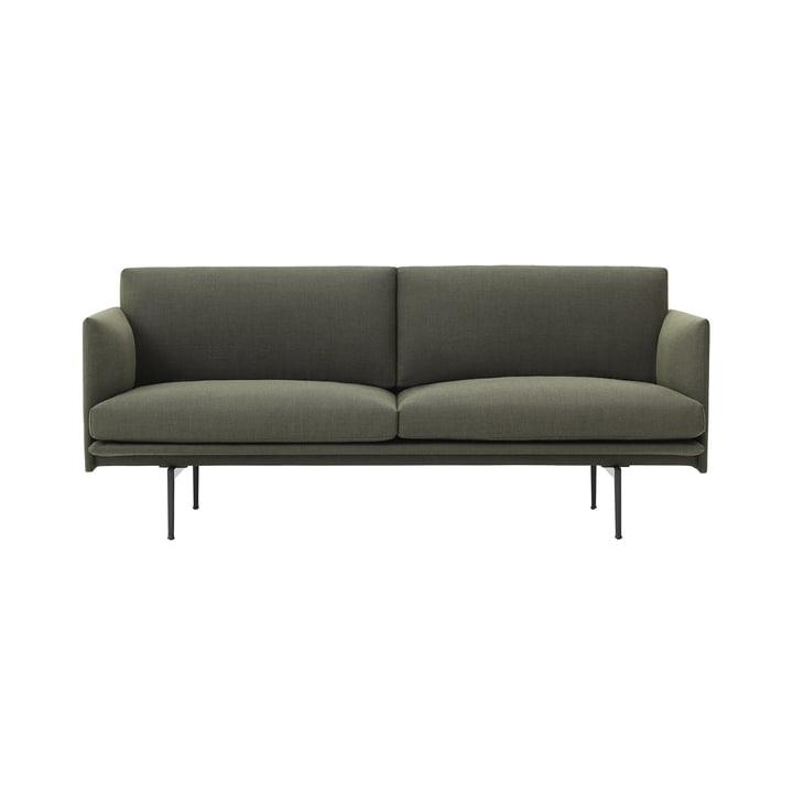 Das Outline Sofa 2-Sitzer von Muuto in grün fiord 961