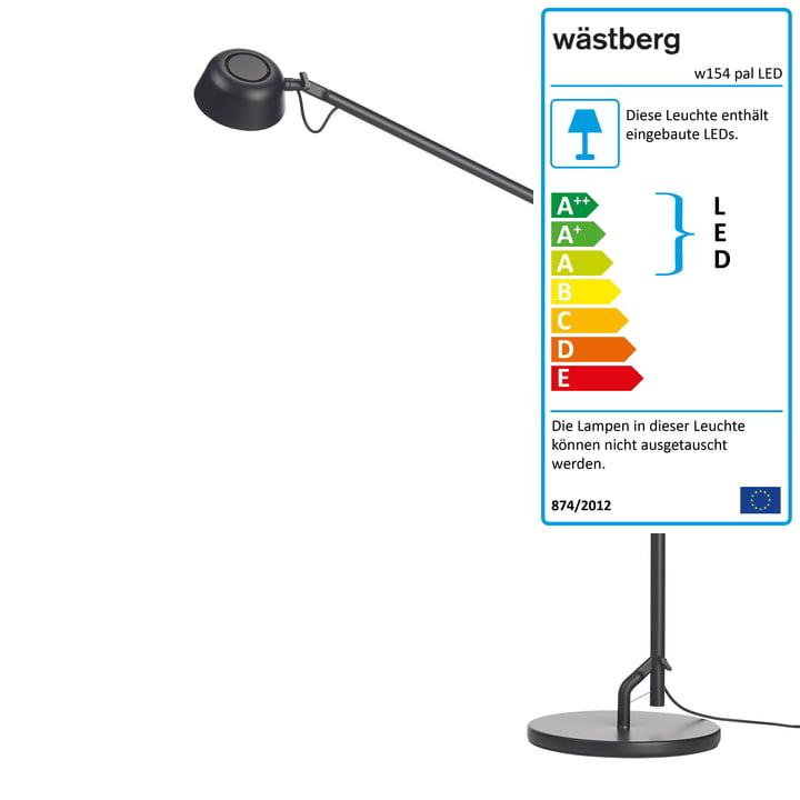 Die w154 pal LED Tischleuchte von Wästberg in schwarz