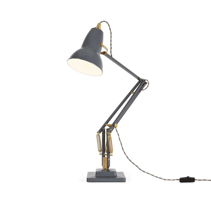 Original 1227 Messing Tischleuchte von Anglepoise in Elephant Grey