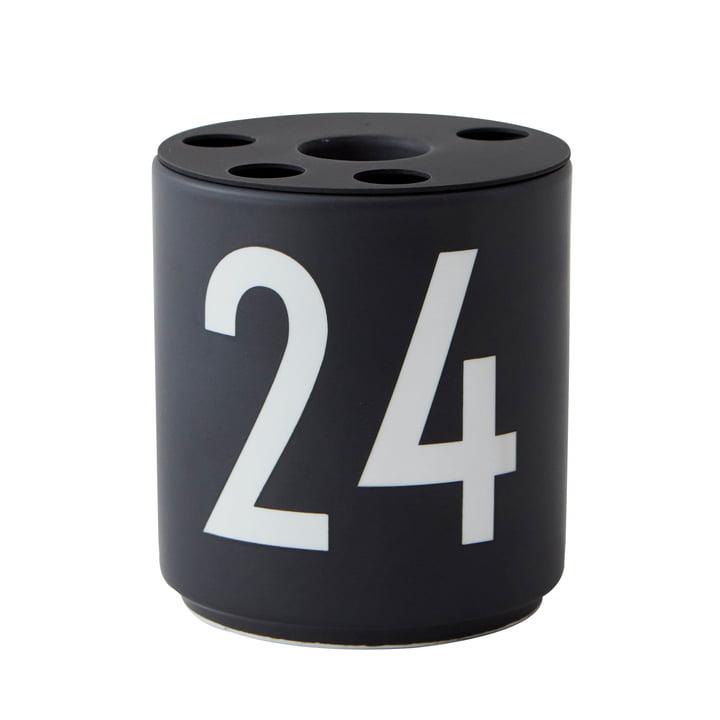 """Porzellan Kerzenhalter, """"24"""" / schwarz von Design Letters"""