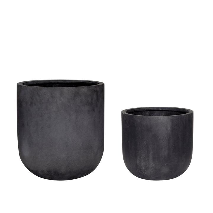 Fiberstone Pflanztopf 2er-Set, schwarz von Hübsch Interior