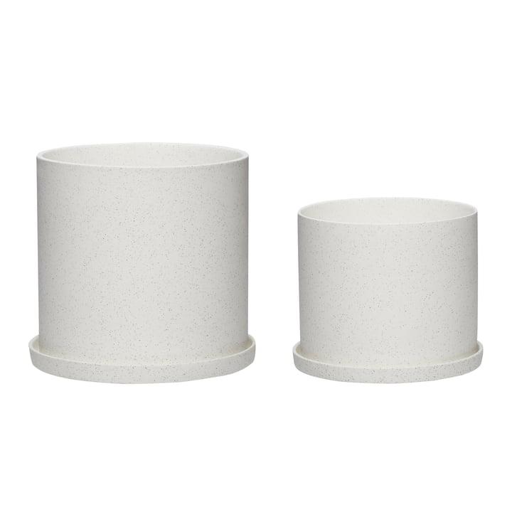 Der Blumentopf 2er-Set von Hübsch Interior in Keramik, weiß