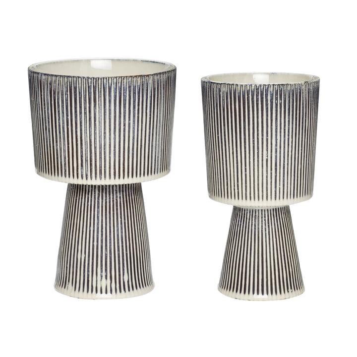 Keramik Topf 2er-Set, beige / schwarz von Hübsch Interior