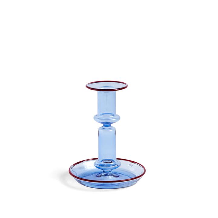 Flare Kerzenständer, H 14 cm, hellblau / rot von Hay