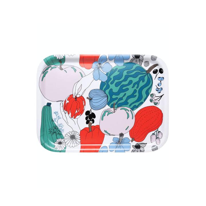 Das Tarhuri Tablett von Marimekko, 27 x 20 cm, weiß / rot / grün